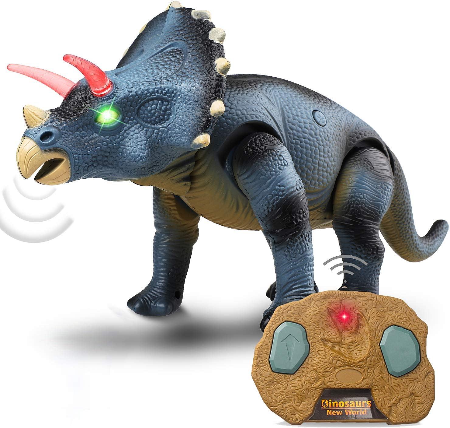 Kids Remote Control Walking Dinosaur Triceratops RC Toy Robot Lights Sound Roar
