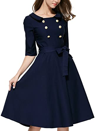 sekitoba-japan.inc 3/4 Sleeve Navy Belted Retro Evening Dress with Button