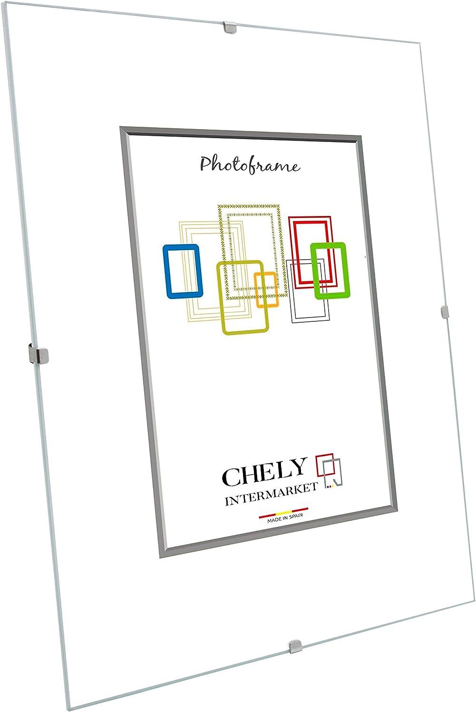 Chely Intermarket, Marco Clip 30x40 cm de metacrilato | Soporte sin Marco para fotografías, Posters, certificados y Recuerdos. Complemento idóneo para Colgar en la Pared(300-30x40-0,55)