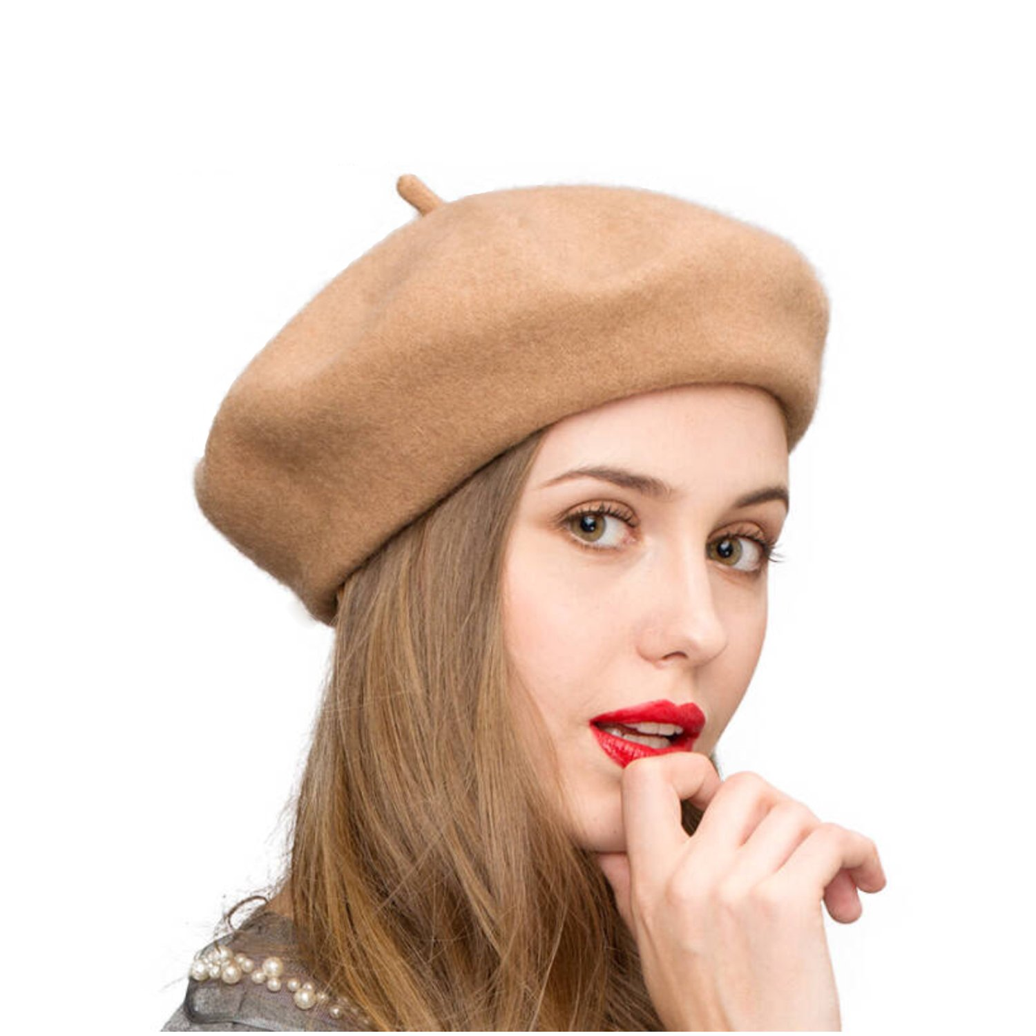 Klong Wool Beret Hat French Style Women Solid Color Thicken Warm Multiple Wear Ways (Camel)