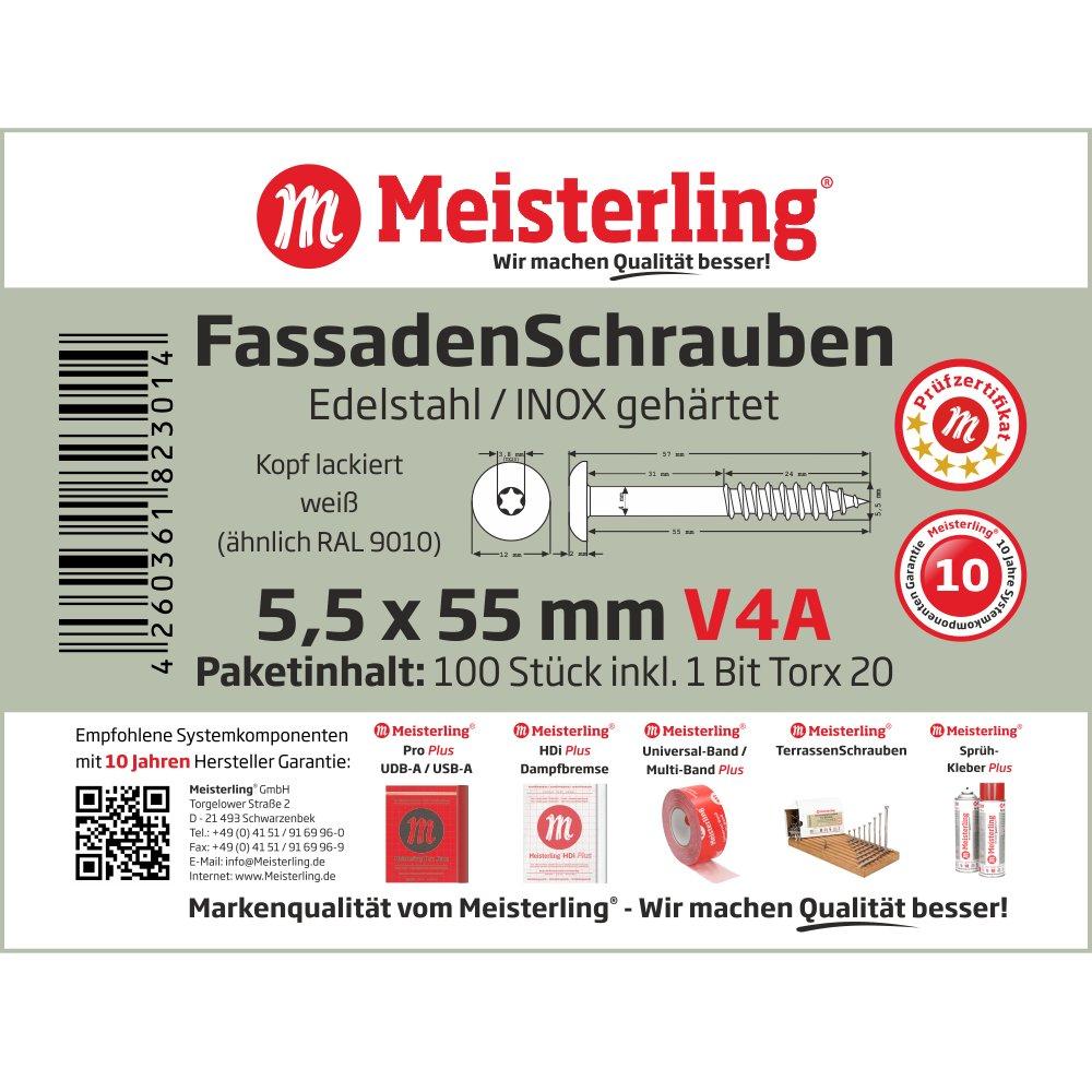 V4a Edelstahl Meisterling/® FassadenSchrauben 5,5 x 55 mm mit Flachkopf