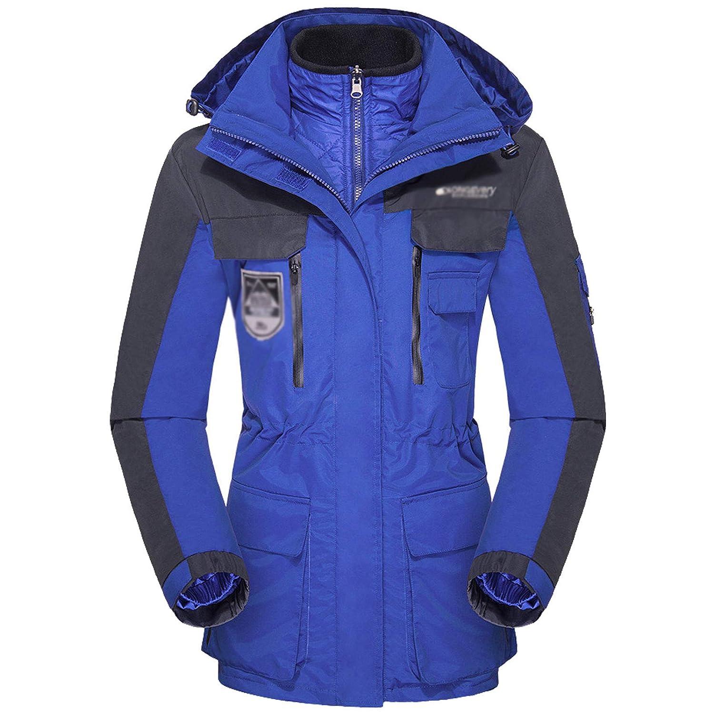 bluee Flygo Women's 3 in 1 Removable Hoodie Windproof Waterproof Jacket for Rain Snow Hiking