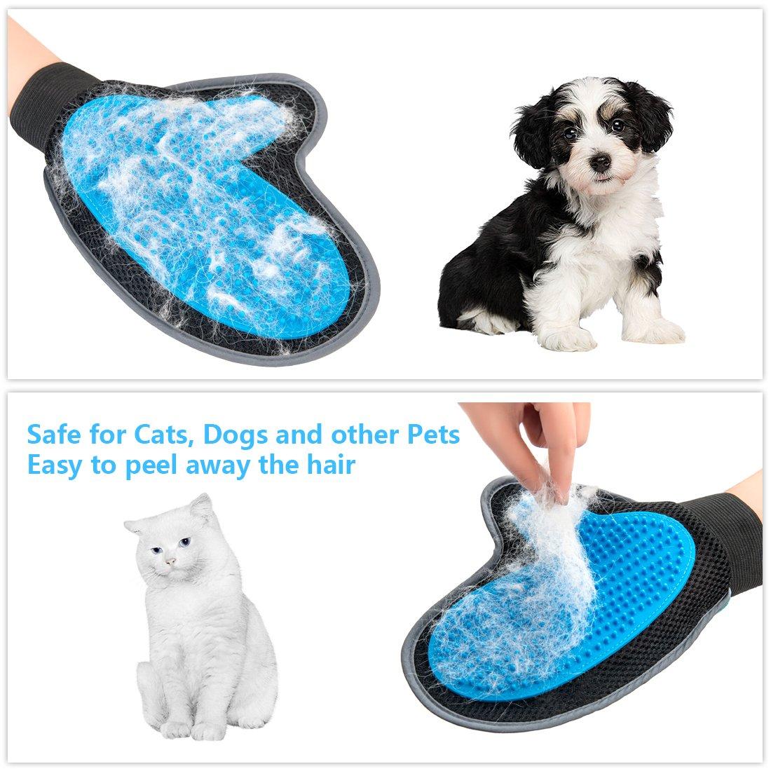 Bonve Pet Guantes para Perro Cepillo Masaje Perro Peine Guante Quitapelos Cepillo para Mascotas Herramientas de Peine de Pelos para Perros Gatos ...