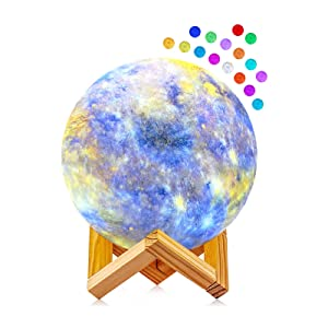 Moon Lamp, GDREAMT 3D Galaxy Night Light 16 Colors LED Moon Light with Stand, Touch & Remote Control USB Rechargeable Star Moon Lamp for Kids Baby Women Birthday Gift Home Decor (5.9 inches)