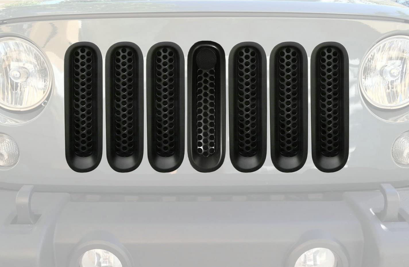 Black, with key hole Bestong 7 Pcs Front Mesh Grille Front Grill Inserts Kit for Jeep Wrangler Rubicon Sahara JK 2007-2017 Upgrade Clip in Version