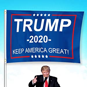 Donald Trump 2020 Flag Kepp America Great 3 x 5 Feet Flags with Brass Grommets Vivid Color Double Stitched for Yard Garden Porch