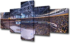 Living Room Wall Decor Boston Bruins Play the NHL Champion in TD Garden Paintings Pictures 5 Piece Canvas Wall Art Modern Artwork Home Decor with Framed Ready to Hang Posters and Prints - 50''Wx24''H