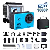 ODRVM Underwater Action Camera Wi-Fi 1080P Waterproof 30m 2.0'' LCD 170° Wide-Angle 2 Batteries with Portable Package Case and 19 Accessories for Drone, Kids, Bike, Motorcycle, Helmet, Cycling, Diving, Snorkelling and Other Extreme Sports