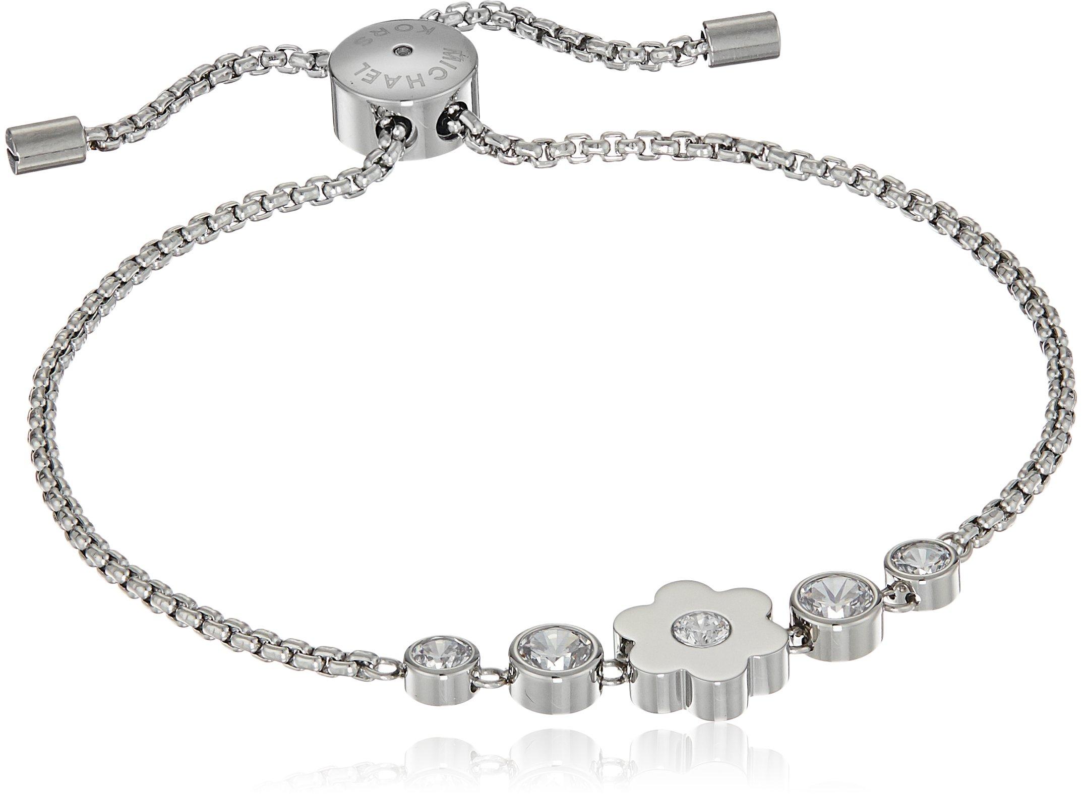 Michael Kors Womens Silver-Tone Flower Link Charm Bracelet, One Size
