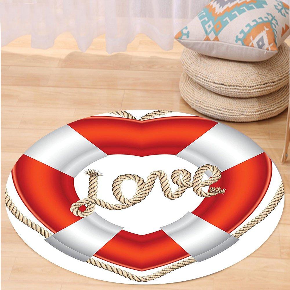 VROSELV Custom carpetBuoy Decor Heart Shaped Life Belt Valentine Love Affection Honeymoon Romantic Art Bedroom Living Room Dorm Decor Round 79 inches