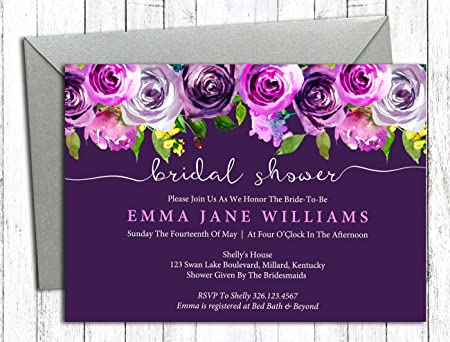 Darling souvenir purple floral custom printed bridal shower darling souvenir purple floral custom printed bridal shower invitations set of 10 personalized invites with filmwisefo