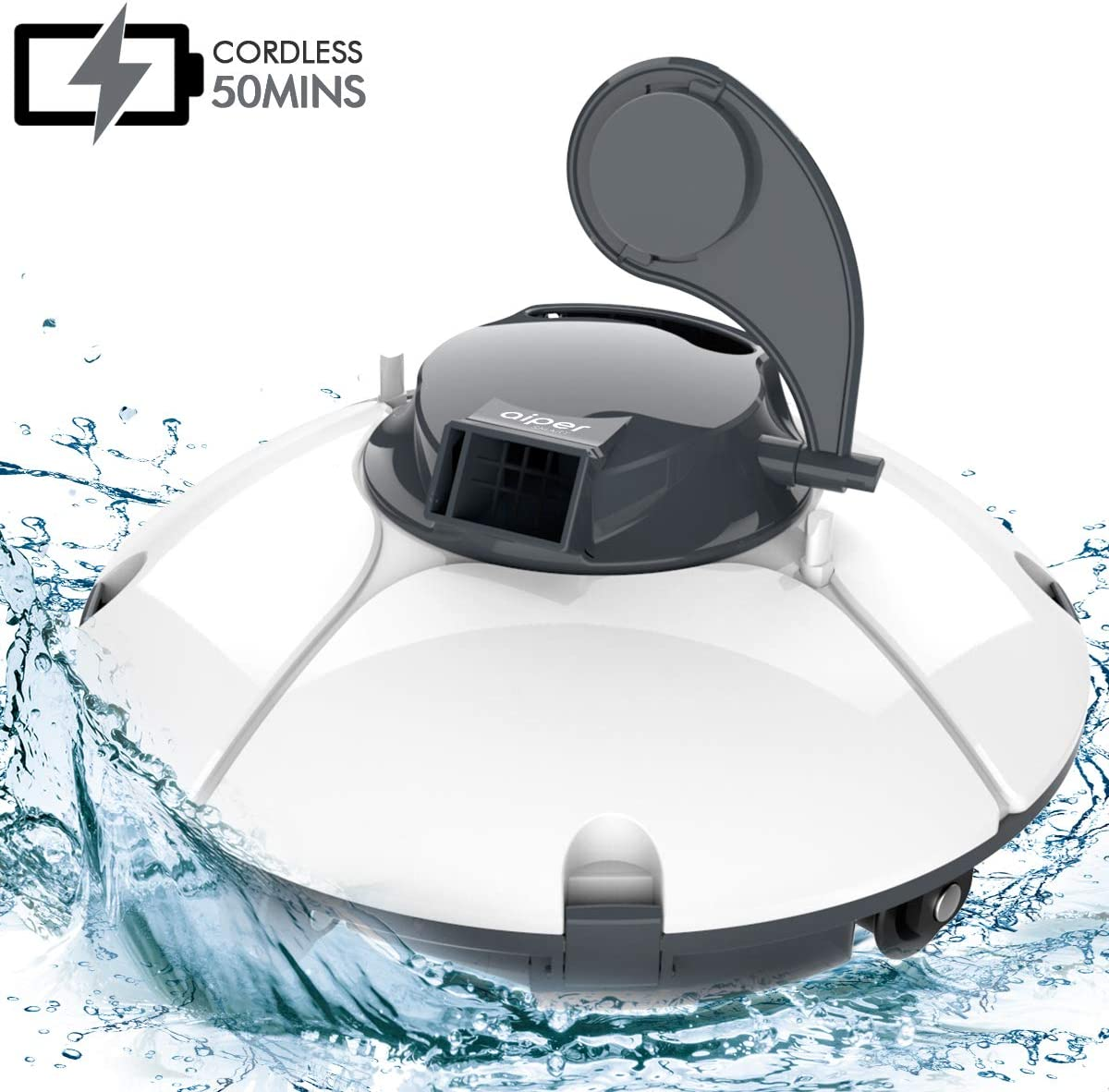 AIPER Cordless Automatic Pool Cleaner, Rechargeable Robotic Pool Cleaner with 50 Mins Running Time, IPX8 Waterproof, Ideal for In-ground/Above Ground Swimming Pools with Flat Floor Up to 540sq/ft