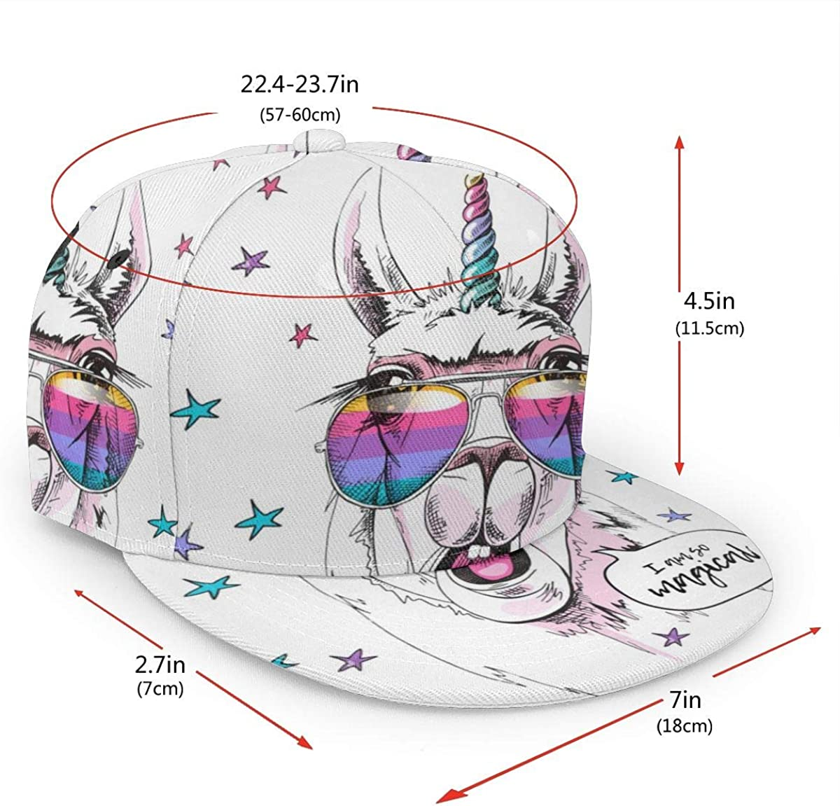Quguangyan Unisex Flat Baseball Hats Funny Donkey Wear Glasses Adjustable Snapback Cap