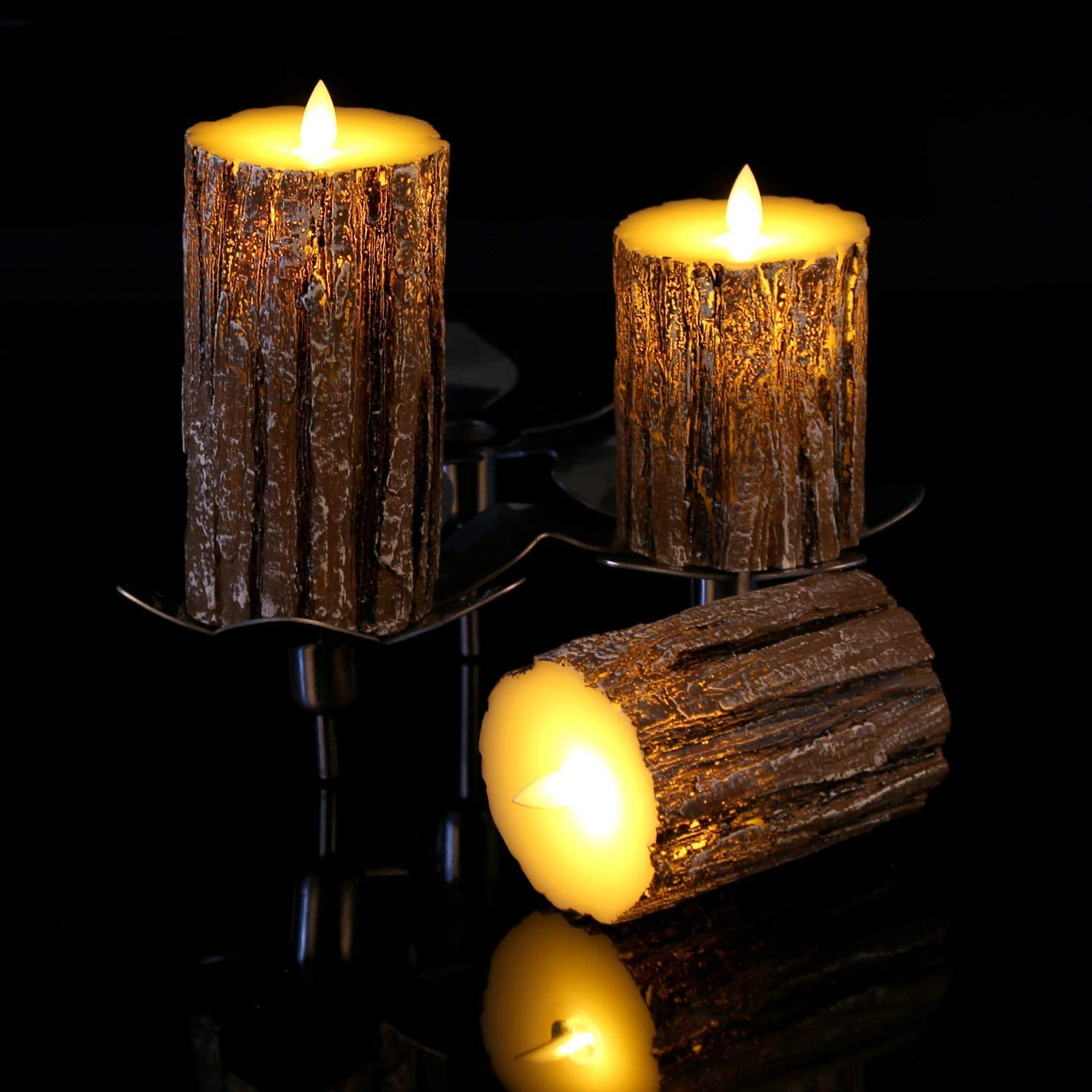 TOOGOO Flameless Candles Cedar-Bark Dripless Real Wax LED Pillars Include Realistic Flickering Flames and 10-Key Remote Control with 24-Hour Timer Function 400 Cedar Bark -3 Pack Hours