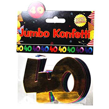 Jumbo Zahlen Konfetti 40 Geburtstag Dekoration Party Tischdeko