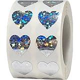 Adesivos de coração brilhantes holográficos prateados para o dia dos namorados, scrapbook de 1,27 cm, 1.000 adesivos