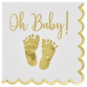 100 Baby Shower Napkin Oh Baby Luncheon Napkins with Scalloped Edge 3-Ply Gold Feet Footprints on White Paper Napkin for Boy & Girl Gender Reveal Party Supplies Decoration Accessories by Gift Boutique
