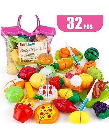 JoyGrow Alimentos de Juguete 32 Piezas Cortar Frutas Verduras Temprano Desarrollo Educación Bebé Niños Juegos para
