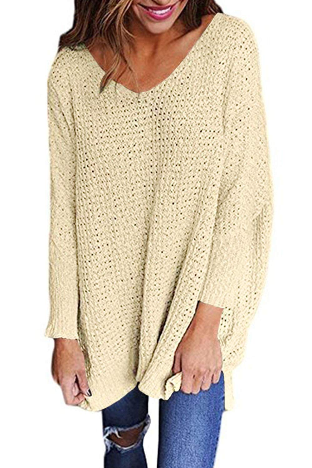 Chuanqi Womens Sweaters Oversized V Neck Loose Knit Pullover Long Batwing Sleeve Tops
