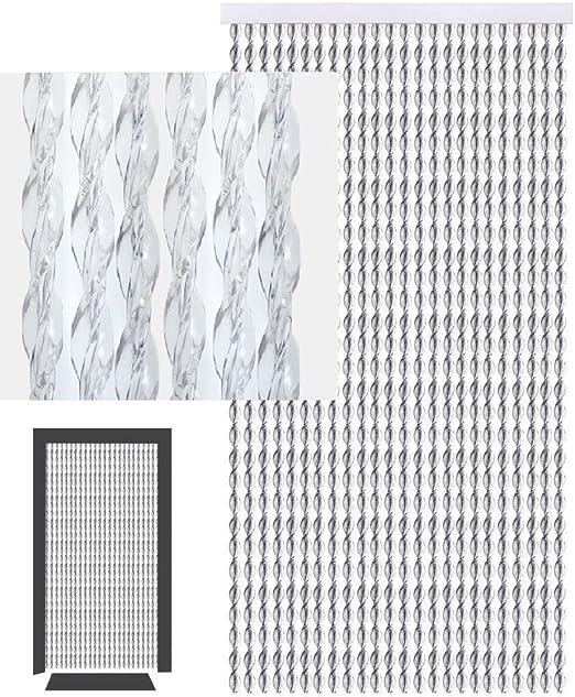 Cortina para puerta exterior protectora contra insectos como moscas y mosquitos - Cortinas panel de cuerdas mosquitera como separador o divisor - Multicolor de 210x90cm (PVC, Transparente y blanco): Amazon.es: Jardín