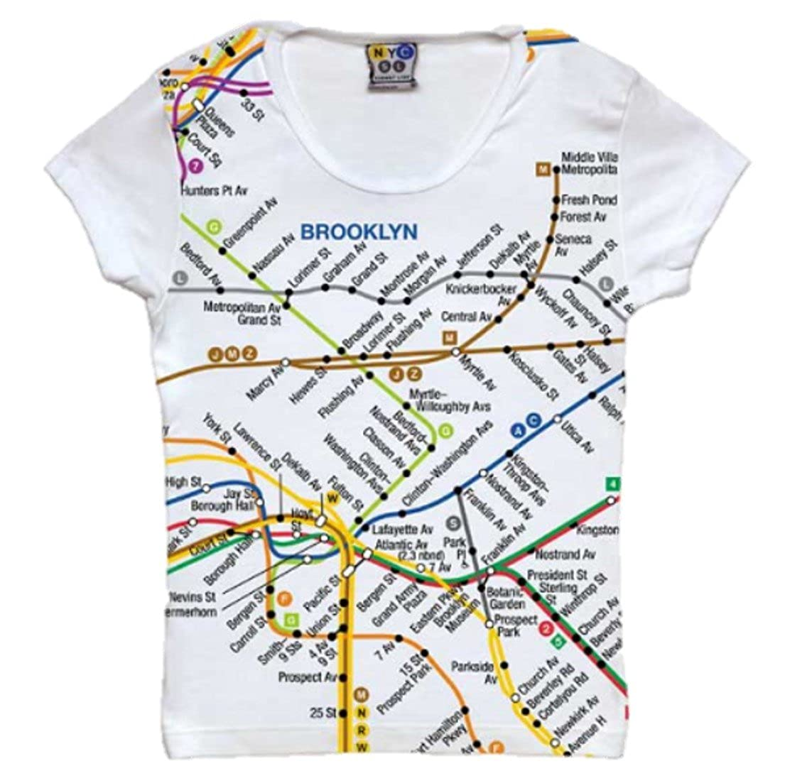 Subway Map To Brooklyn.Jr Ladies Brooklyn Subway Map Tee At Amazon Women S Clothing Store