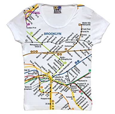Jr Ladies Brooklyn Subway Map Tee White At Amazon Women S Clothing