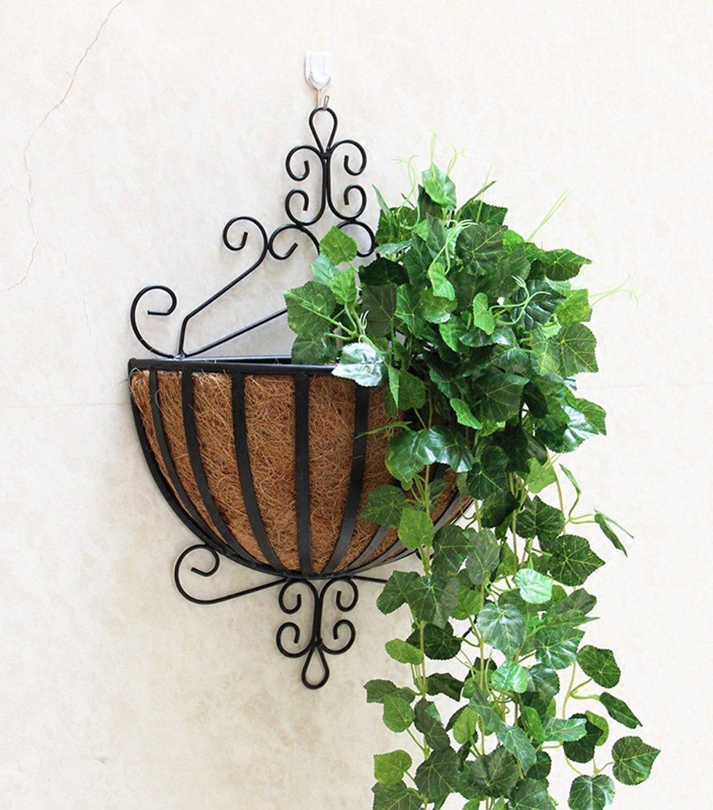 ZENGAI 植物スタンド2個、壁掛けフラワーポットラック吊り屋内バルコニーアイアンフラワーフレームは、盆栽フレームの壁に吊るす フラワースタンド ( 色 : A ) B07B6VKGP6 A A