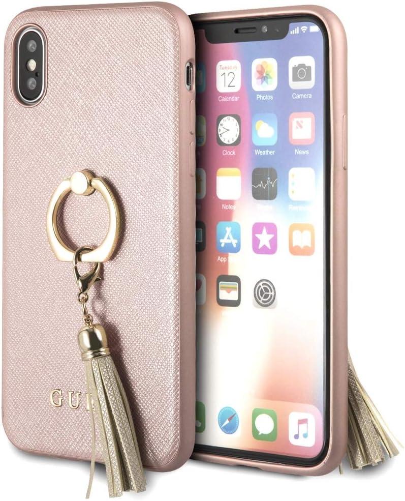 GUESS carcasa Apple iPhone X con anillo soporte Saffiano rosa: Amazon.es: Electrónica