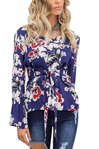 Mujer Camisas Floral Manga Cuello En V Corbata Cintura Jersey Camiseta Tops   Amazon.es  Ropa y accesorios ac73bda8b30f