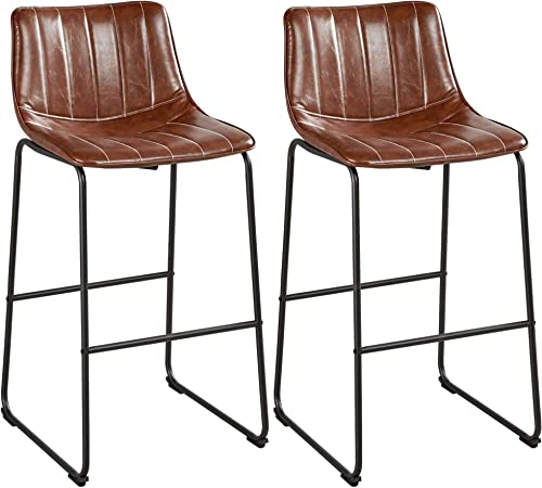 Yaheetech Dining Chairs 30'' Industrial PU Leather Chairs Fashionable Furnished Settle Metal Legs Armless Chairs
