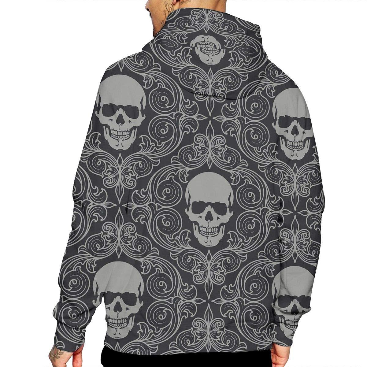 National Skull Mans Long Sleeve Hoodie Casual Pocket Hooded Sweatshirt