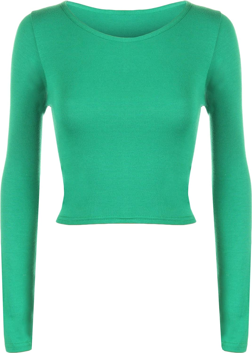 / 14 ELLE LOVES New da Donna Crop a Maniche Lunghe da Uomo Collo Rotondo Top 8/