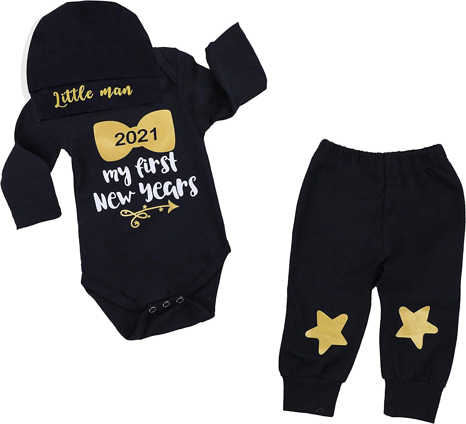 Amazon Com Newborn Baby Boy 1st New Year Clothes 2021 My First New Year Romper Cute Star Pants Little Man Hats 3pcs Outfit Set Clothing