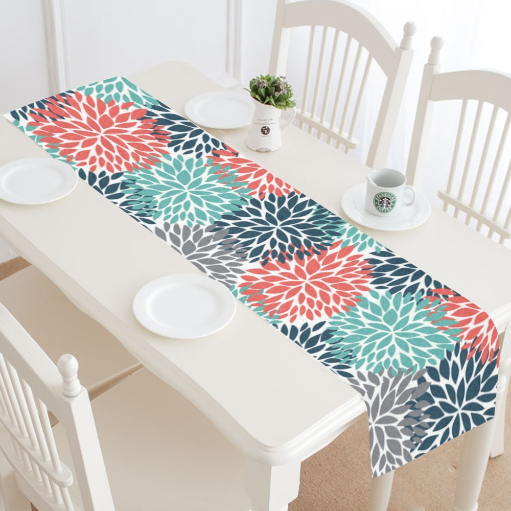 InterestPrint Dahlia Pinnata Flower Teal Coral Gray Table Runner Linen & Cotton Cloth Placemat Home Decor for Kitchen Dining Wedding Party 16 x 72 Inches