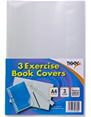 A4 Clear Strong Plastic Protective Exercise Book Slip On Cover Jackets x 3