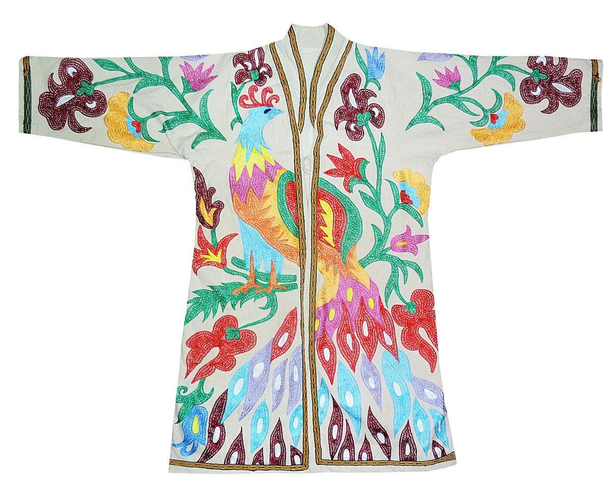 Uzbek traditional Bukhara outwear costume kaftan caftan robe jacket coat unisex silk embroidery suzani stunning bird B1406