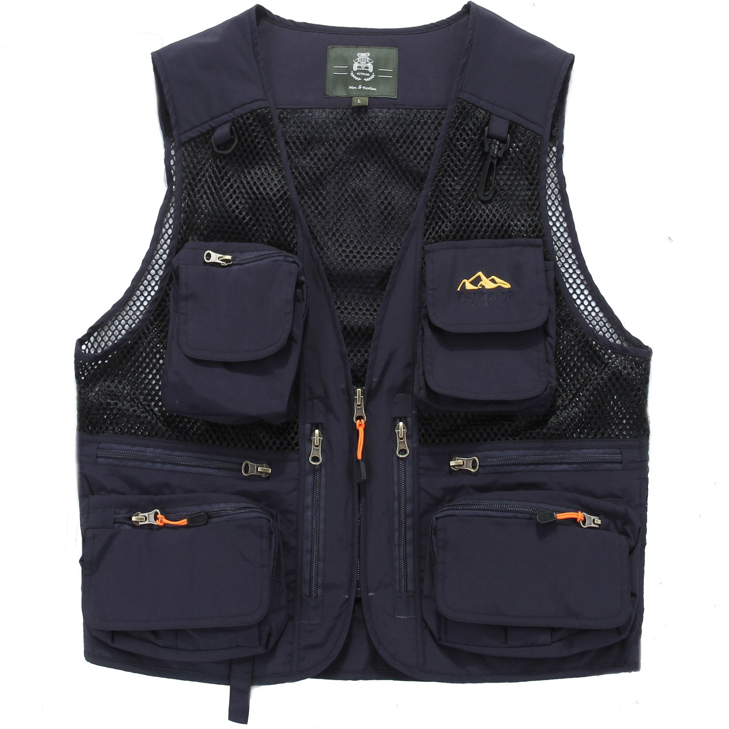 Zhusheng Men's Mesh 15 Pockets Photography Fishing Hunting Outdoor Quick Dry Vest Breathable Waistcoat Jackets (X-Large, Style 02 Navy Blue)