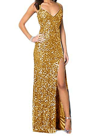 Monalia Womens Sequins High Slit Long Prom Dresses 2018 Formal Gown Size 2 Gold