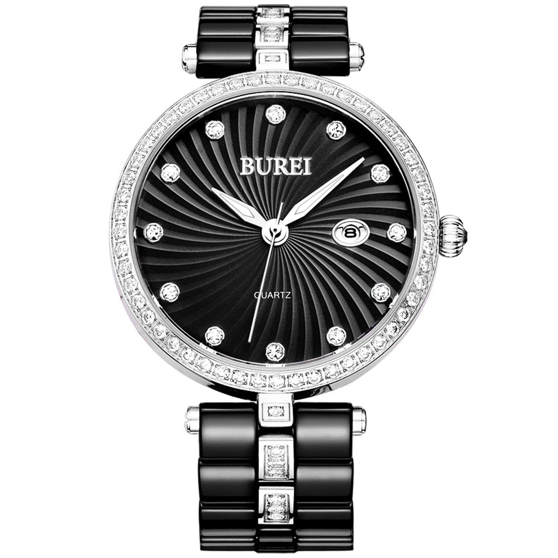 BUREI Quartz Women Watch Elegant Analog Display Date Calendar Crystal Markers Bezel and Two Tones Ceramic Watch Band