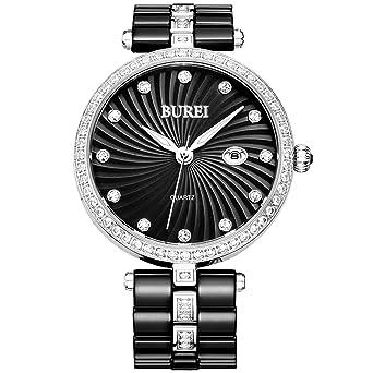 BUREI Femme Swarovski Cristaux Bracelet en céramique Noir Pointeur Lumineux Montre à Quartz Montre Bracelet