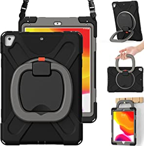 BRAECN Case for iPad 9.7 Inch 6th/5th Generation 2018/2017, iPad Air 2, 3-Layer Protective Silicone Cover with Pencil Holder/Hand Grip/Kickstand/Shoulder Strap for iPad 5th/6th Generation-Black+Grey