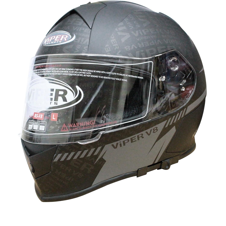 VIPER RS-V8 STEREO PRIME SPEAKERS PHONE JACK RADIO FULL FACE MOTORCYCLE  MOTORBIKE HELMET ATTITUDE MATT BLACK M: Amazon.co.uk: Clothing