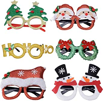 BEDO 6 PCS Christmas Party Glasses Frames Decoration for Christmas Parties