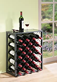 mango steam 32 bottle wine rack with glass table top pewter