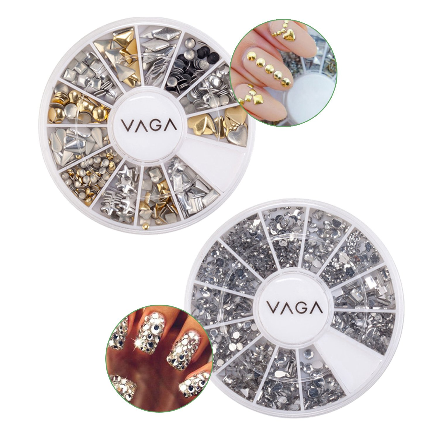 Quality Set of Professional Nail Art Decorations With Wheels of 3D Silver And Golden Metal Studs In 12 Different Shapes And 1200 Silver Rhinestones / Crystals In Different Shapes By VAGA