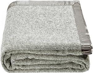 spencer & whitney Bed Throws Blankets Wool Blanket Grey Herringbone Throw Blanket Large Wool Blanket Queen Blanket for Bed