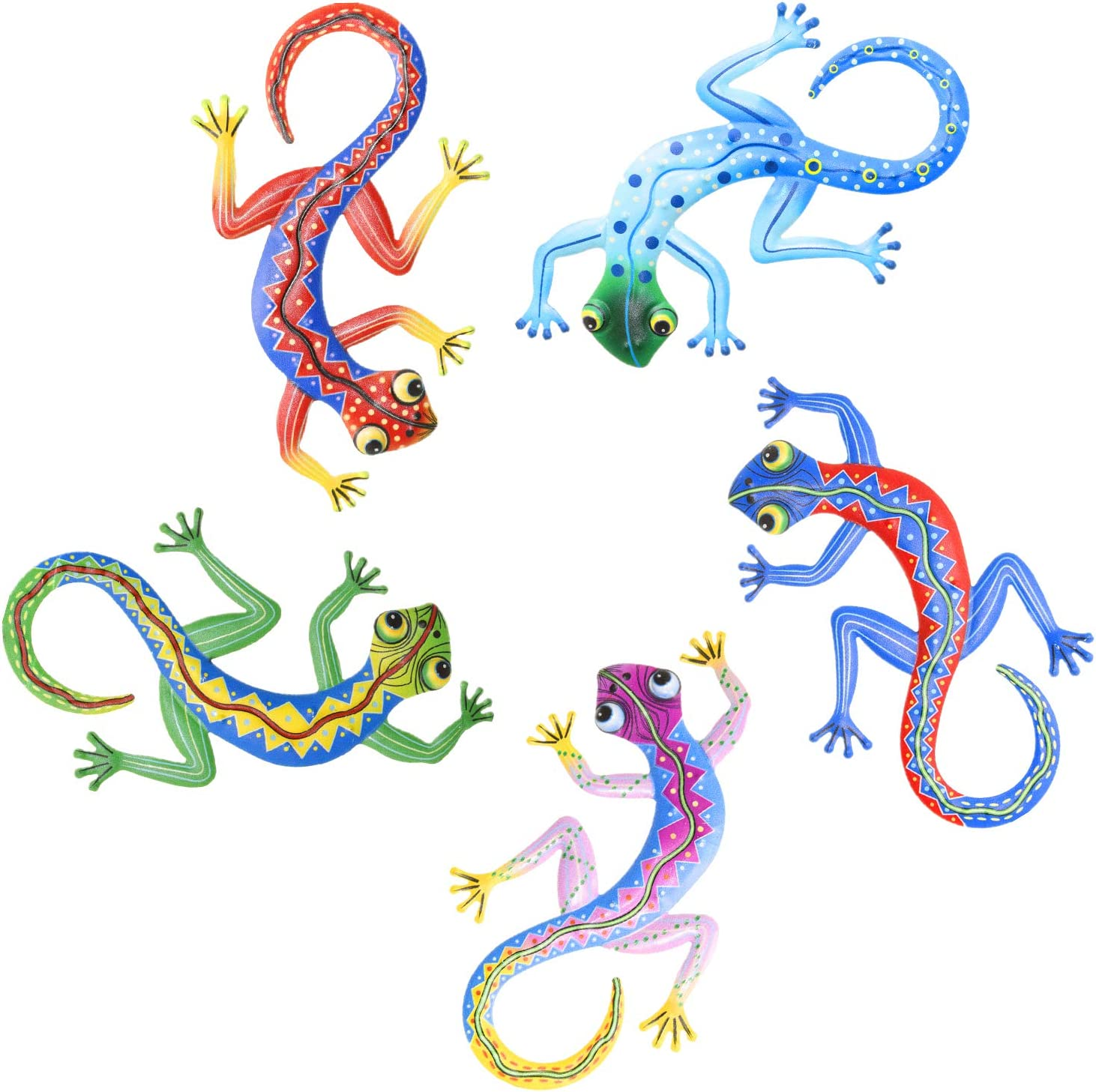 Metal Gecko Wall Decor Art Set of 5 Hanging for Outdoor Backyard Porch Home Patio Lawn Fence Decorations Wall Sculptures