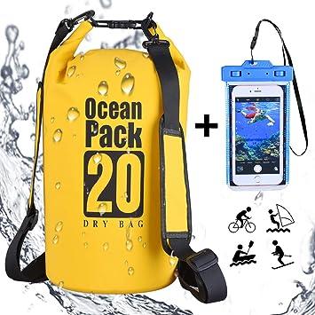 DINOKA 20L/30L Bolsa Seca Impermeable, Bolsas estancas con Caja de teléfono Impermeable Gratis,Dry Bag wateroof para Rafting, Kayak navegación ...
