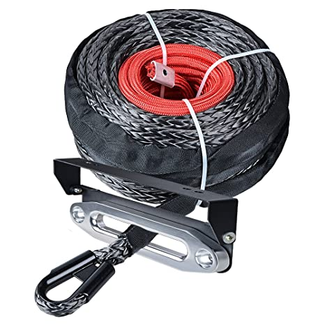 HOOK GUARD AND HAWSE PACKAGE 50/' DYNEEMA SK75 SYNTHETIC ATV UTV WINCH CABLE
