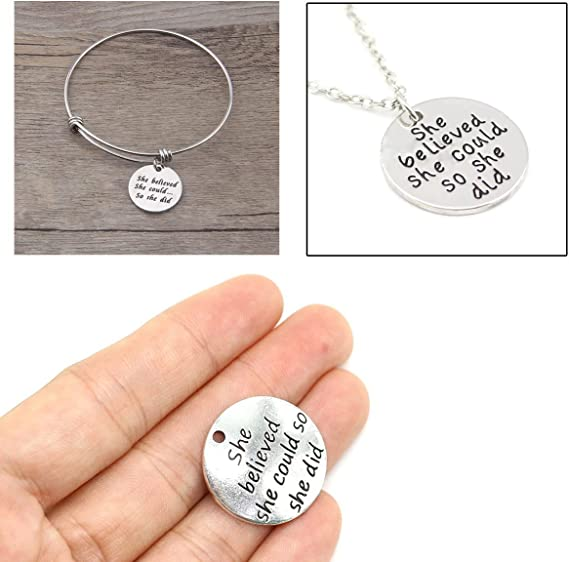Penta Angel Inspiration Word Charms 30Pcs She Believed She Could So She Did Round Motivational Letter Message Pendants Beads for Necklace Bracelet Jewelry Making and Crafts DIY